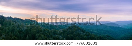 Early morning panorama in Santa Cruz mountains; Monterey bay and the Pacific Ocean visible in the background; San Francisco bay area, California #776002801
