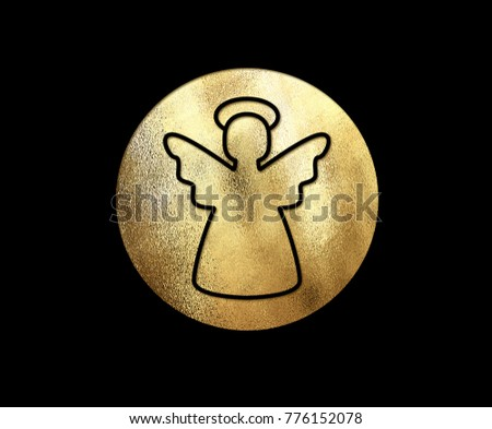 The isolated golden glitter Christmas angel flat icon on black background #776152078