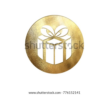 The isolated golden glitter Christmas gift box flat icon on white background #776152141