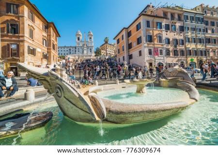 Rome, Italy - October 13, 2017: Barcaccia fountain in Piazza di Spagna #776309674
