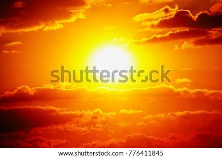 Sunset sky orange sky orange outdoor summer nature #776411845