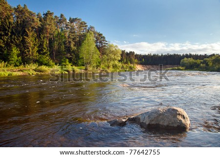 summer landscape with river and blue sky #77642755