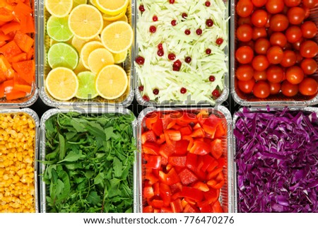 Top view of salad bar with assortment of ingredients #776470276
