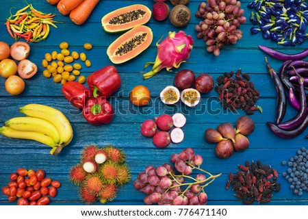 Flat lay of fresh  fruits and vegetables for background, Different fruits and vegetables for eating healthy, Colorful fruits and vegetables on blue plank background #776471140