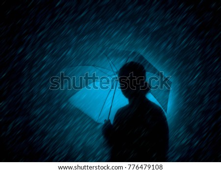 Girl in the rain with an umbrella, silhouette. #776479108
