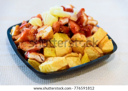 Chinese chicken with potatoes in sweet sauce #776591812