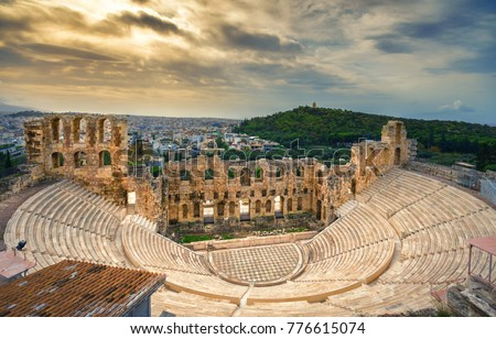 The theater of Herodion Atticus under the ruins of Acropolis, Athens, Greece. #776615074