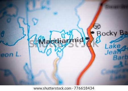Macdiarmid. Canada on a map. #776618434