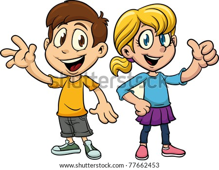 Cute cartoon boy and girl. Both in separate layers for easy editing.