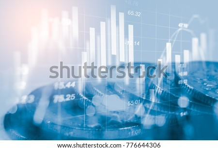 Stock market or forex trading graph and candlestick chart suitable for financial investment concept. Economy trends background for business idea and all art work design. Abstract finance background. Royalty-Free Stock Photo #776644306