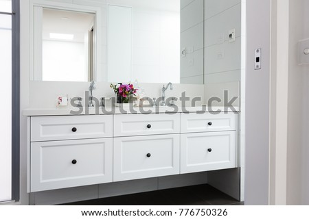 Wall hung vanity in a luxury Hamptons styled bathroom