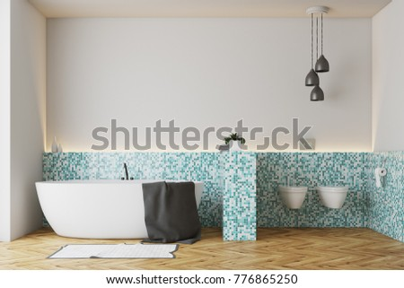 Green tile bathroom interior with a wooden floor, a white bathtub and a double toilet. 3d rendering, mock up #776865250