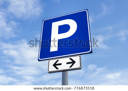 Blue transit signal with a parking icon