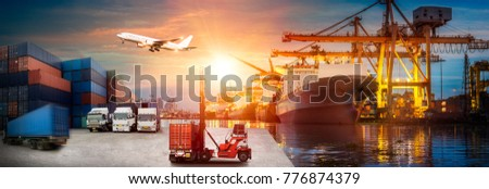 Logistics and transportation of Container Cargo ship and Cargo plane with working crane bridge in shipyard at sunrise, logistic import export and transport industry background #776874379