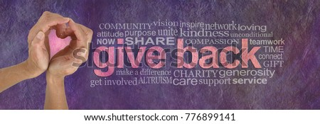Give Back with Love Word Cloud - campaign banner with female hands making a heart shape with pink behind on left and a GIVE BACK word cloud  on right against a rustic parchment background  Royalty-Free Stock Photo #776899141