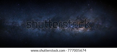 Panorama milky way galaxy with stars and space dust in the universe Royalty-Free Stock Photo #777005674