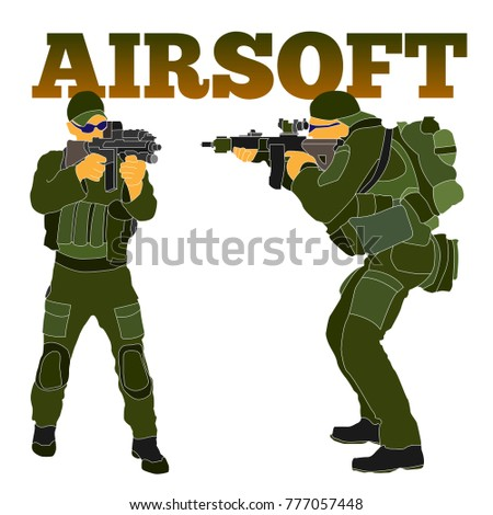 Armed airsoft shooter military in tactical equipment preparing to train with an automatic rifle. Will be used as branding logo, web element, poster, postcard.