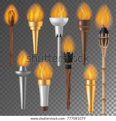 Torch flame vector flaming torchlight or lighting flambeau symbol of achievement torching with burned fire flame 3d realistic illustration isolated on background