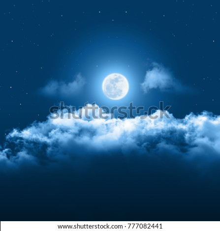 Mystical Night sky background with full moon, clouds and stars. Moonlight night with copy space for winter background.