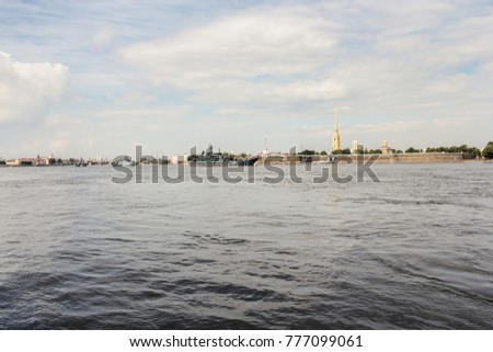 Military ships on the Neva. St. Petersburg, Russia - 28 July, 2017. Festive parade of warships on the Neva River in St. Petersburg. #777099061