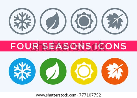 A set of four seasons icons. The seasons - winter, spring, summer and autumn. Royalty-Free Stock Photo #777107752