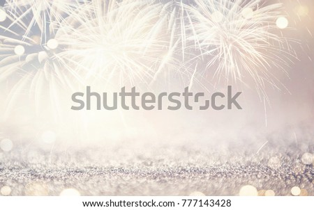 Vintage Fireworks and bokeh in New Year eve and copy space. Abstract background holiday. #777143428