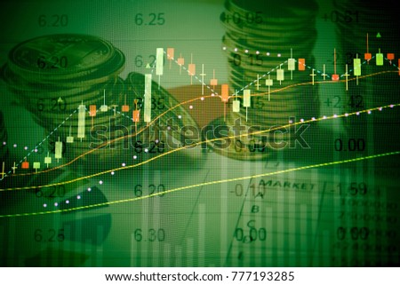 Business success and growth concept. Stock market business graph chart on digital screen. Stock prices chart and Candle stick tracking for Forex market, Gold market and Crude oil market.