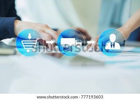 Logistics and transportation concept on virtual screen. Internet purchase delivery. Royalty-Free Stock Photo #777193603