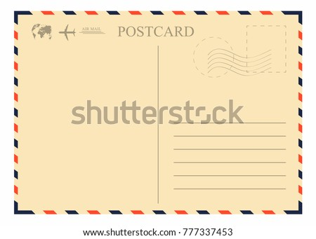 Vintage postcard template. Retro airmail envelope with stamp, airplane and globe. Vector Royalty-Free Stock Photo #777337453