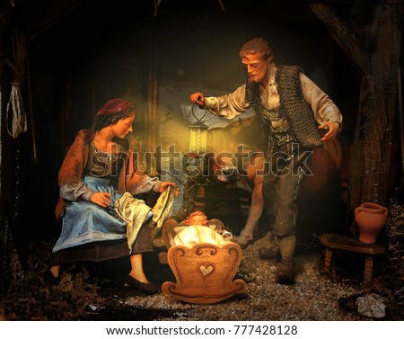 Christmas Manger scene; Joseph, Mary and Jesus, carved from wood; Nativity Scene                               #777428128