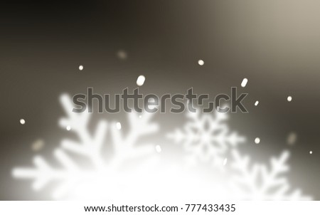 Light Gray vector cover with beautiful snowflakes. Snow on blurred abstract background with gradient. The pattern can be used for new year ad, booklets. #777433435