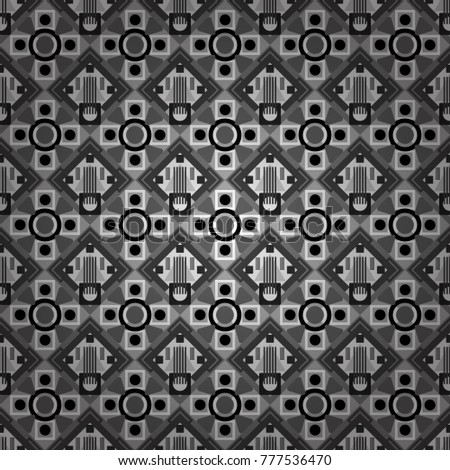 Vector colorful symmetrical seamless pattern for textile, tiles and design in gray, black and white tones. #777536470