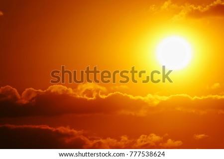Sunset sky orange sky orange cloud outdoor summer nature #777538624
