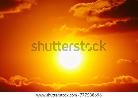 Sunset sky orange sky orange cloud outdoor summer nature #777538696