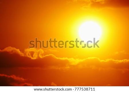 Sunset sky orange sky orange cloud outdoor summer nature #777538711