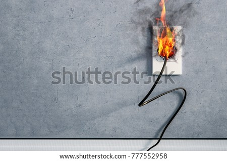 fire and smoke on electric wire plug in indoor, electric short circuit causing fire on plug socket #777552958
