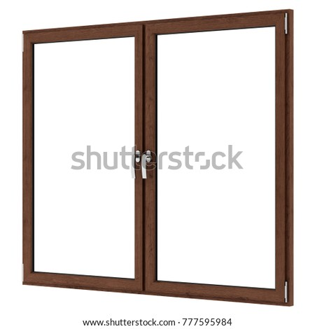 brown wooden window isolated on white background. 3d illustration #777595984