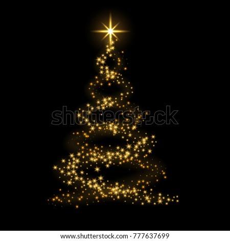 Christmas tree card background. Gold Christmas tree as symbol of Happy New Year, Merry Christmas holiday celebration. Golden light decoration. Bright shiny design illustration #777637699