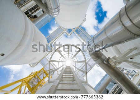 Offshore oil and gas process which treat raw gas and condensate before sent to onshore refinery and petrochemical plant, Power and energy business. Royalty-Free Stock Photo #777665362