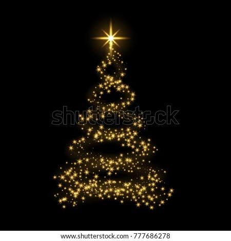 Christmas tree card background. Gold Christmas tree as symbol of Happy New Year, Merry Christmas holiday celebration. Golden light decoration. Bright shiny design illustration #777686278