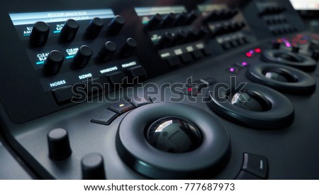 Telecine color grading control machine for film director edit or adjust color on digital video movie in post production stage.