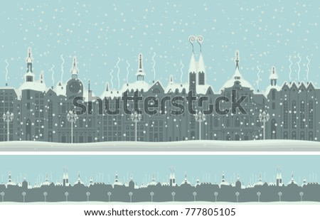 Vector seamless ornament with an old winter town in retro style. Old buildings of European city in winter in the snow #777805105