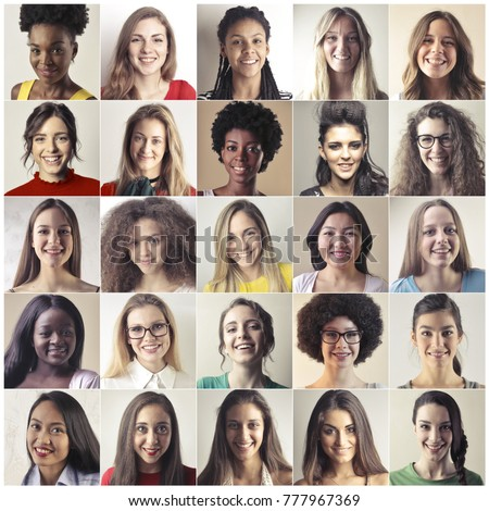 Portraits of smiling women