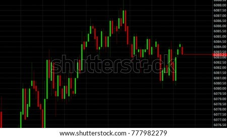 Candle stick graph chart with indicator showing bullish point or bearish point, up trend or down trend of price of stock market or stock exchange trading, investment and financial concept. thin focus. #777982279