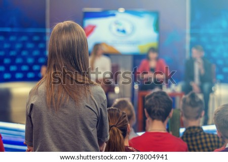 Viewers on a television talk show #778004941