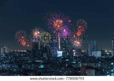 city view and Bangkok with beautiful fireworks #778008793