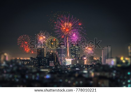 city view and Bangkok with beautiful fireworks #778010221