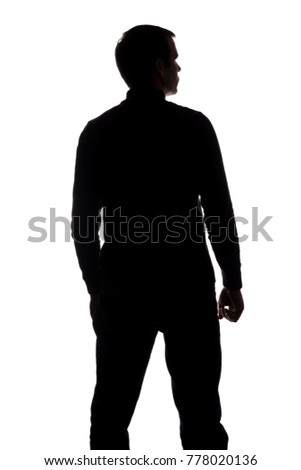 Portrait of a young man, in anger, view from the back - silhouette #778020136