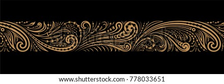 Vintage ornate seamless border pattern in russian traditional style. Golden ornament of curls and spirals on black background Royalty-Free Stock Photo #778033651