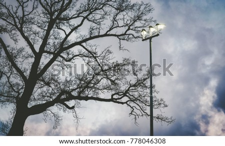 Lamp post against cloudy dutch sky in autumn #778046308